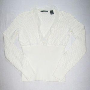 Beautiful Liz Claiborne Ivory V-Neck Sweater